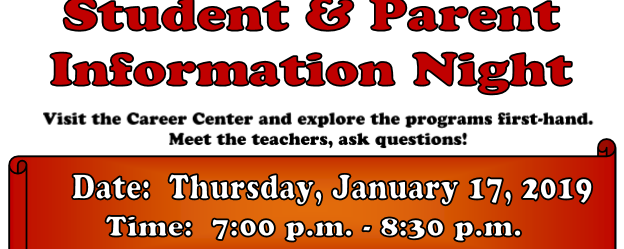 Student Parent Information Night January 17