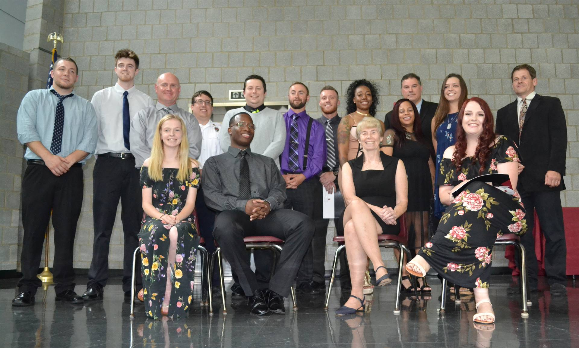 EMT students at graduation ceremony June 11, 2018