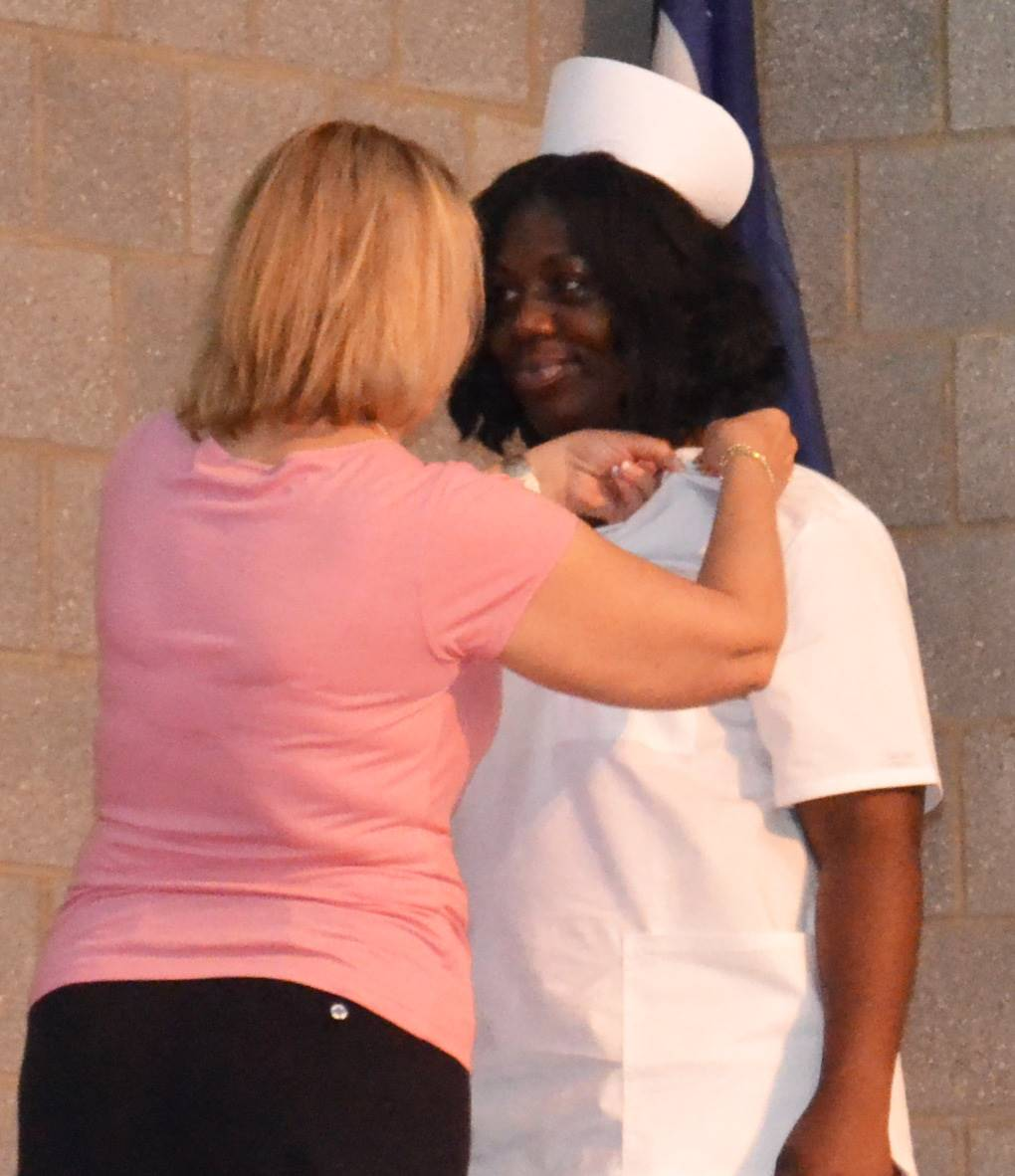 Nursing student getting pinned at graduation ceremony June 7, 2018
