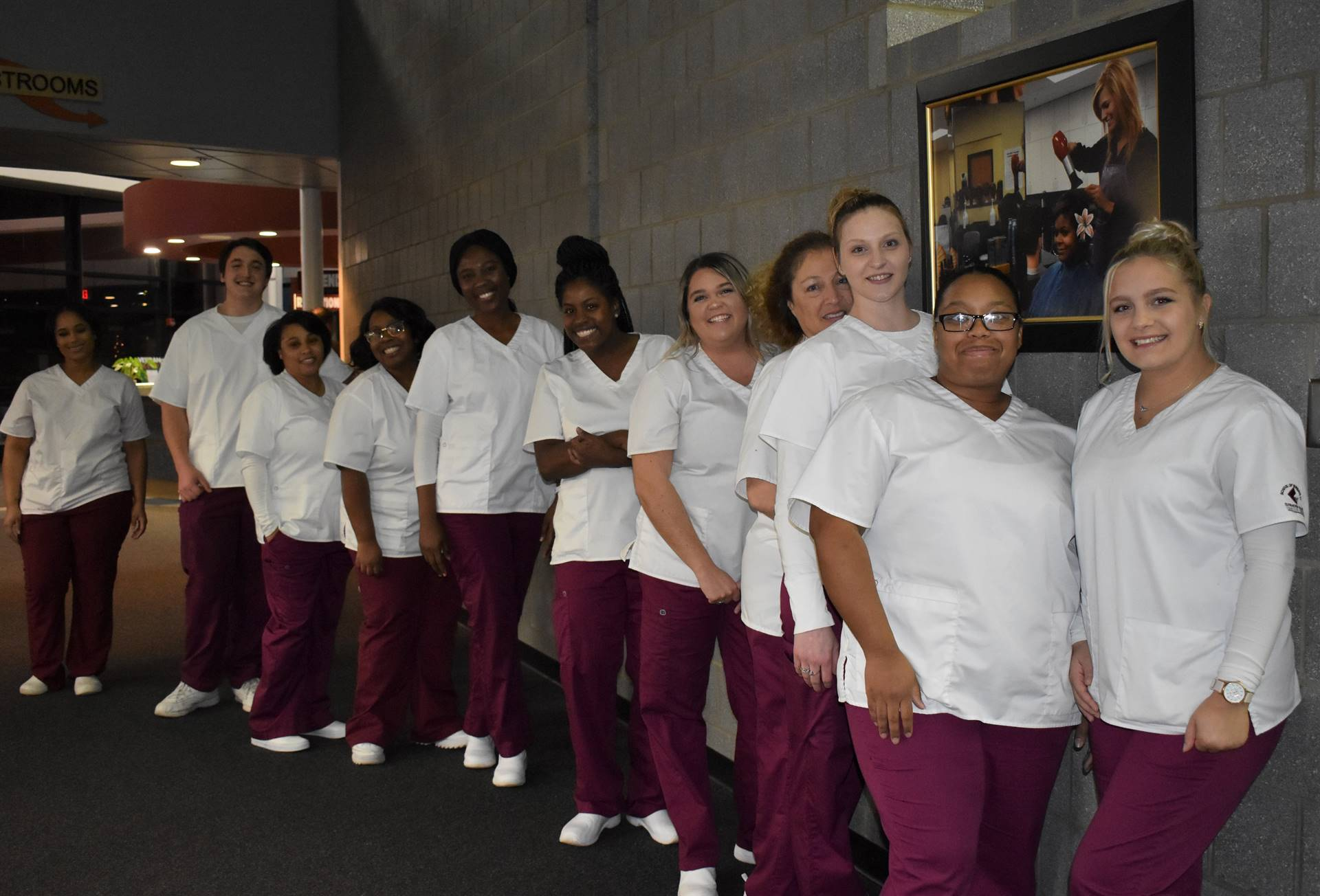 nursing students lined up in hallway