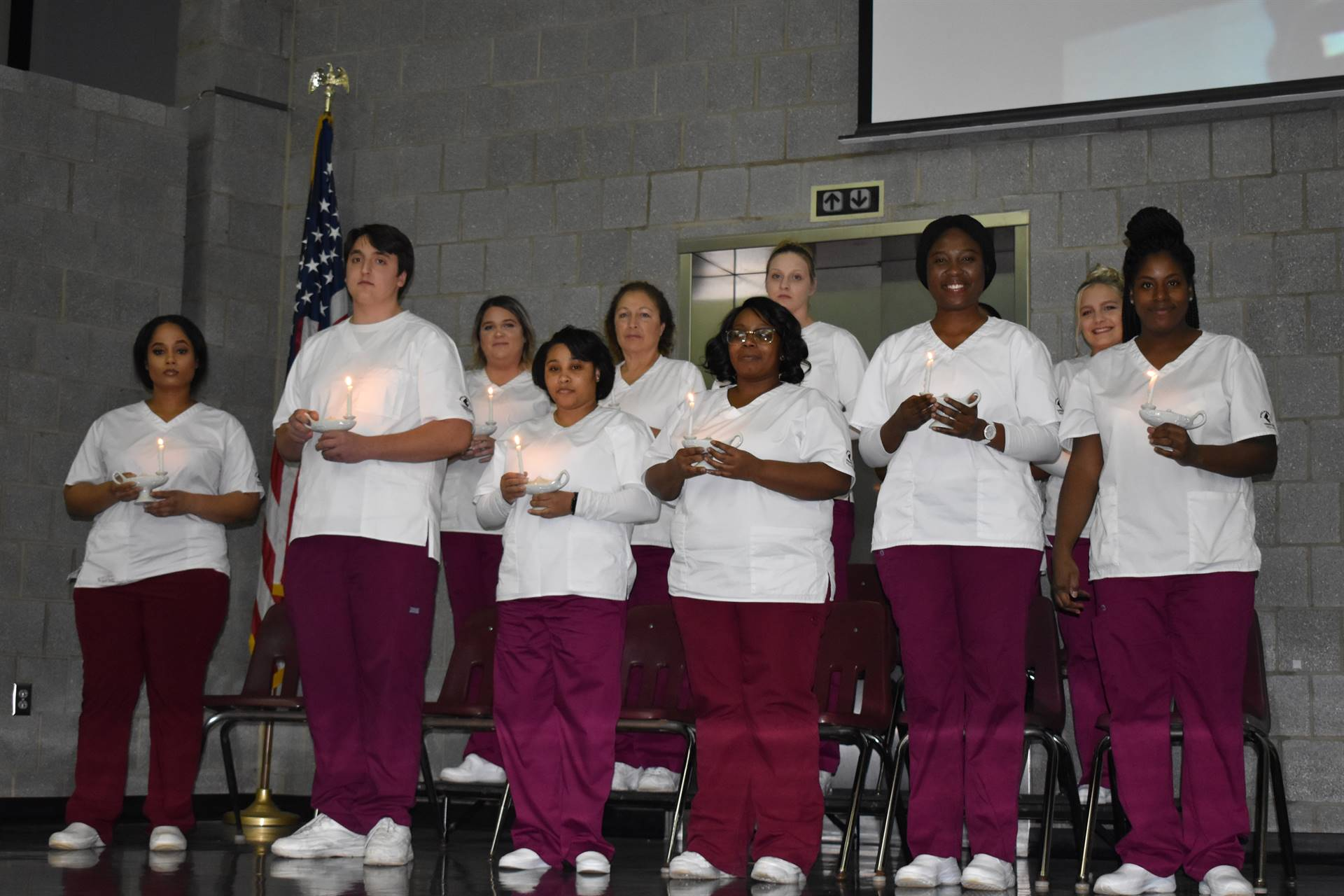 nursing students on stage