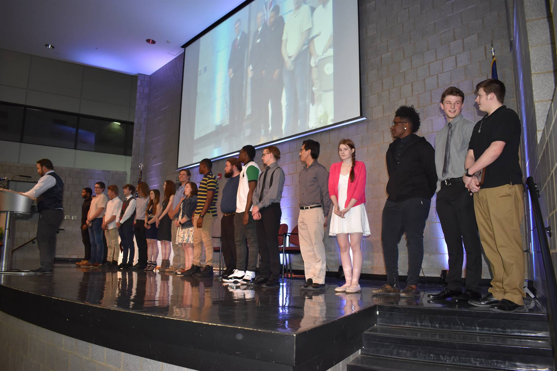 students on stage