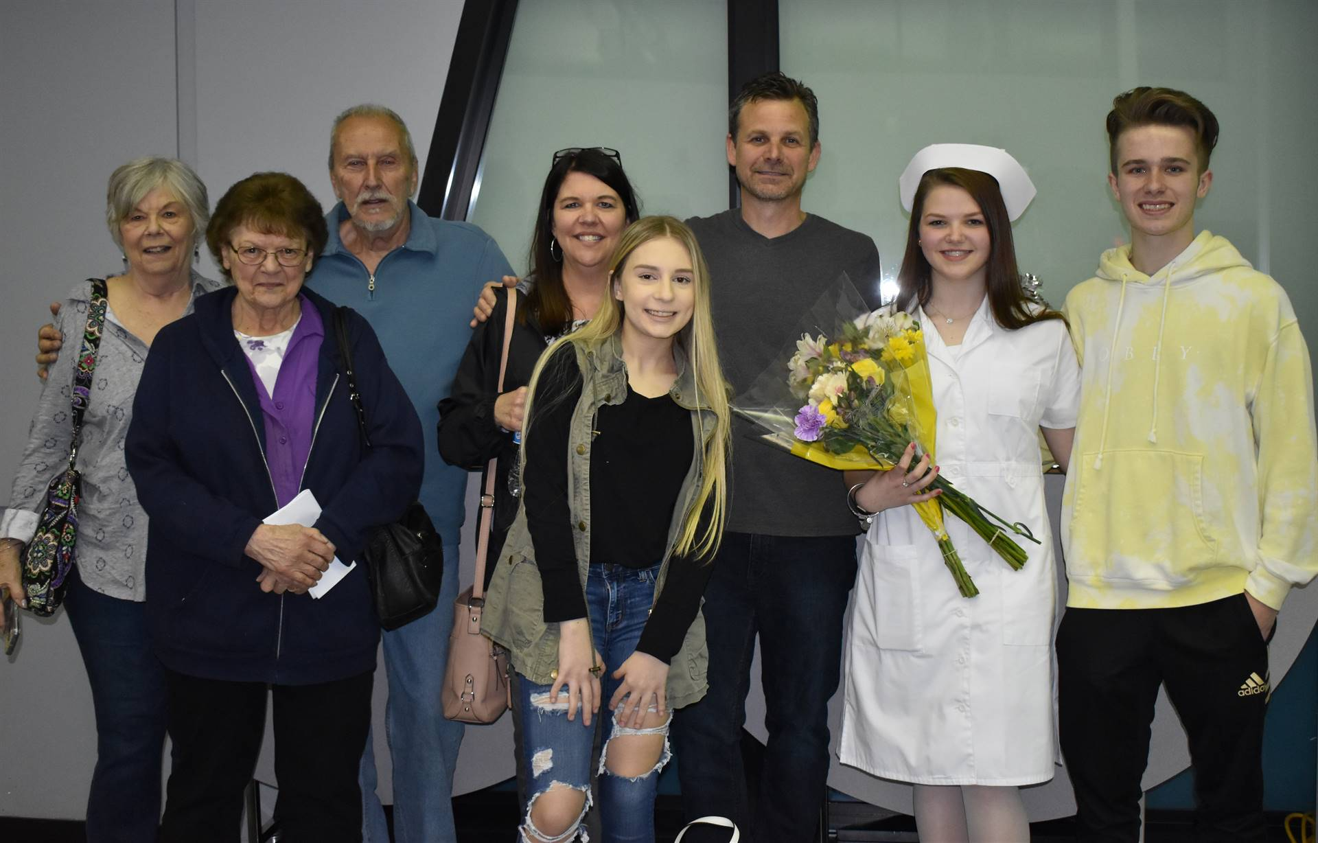 student with family